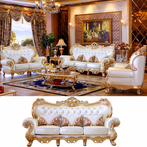 106 Living Room Furniture Genuine Leather Sofa Set