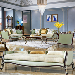 103 Living Room Furniture with Real Leather Sofa