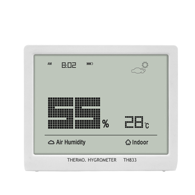 Ultra-Thin Indoor Thermo-Hygrometer Clock TH833