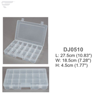 DJ0510 Clear Plastic Box 18 Compartment Storage box