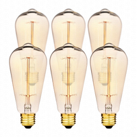 Hudson Lighting Vintage Antique Style Edison Bulb - 4 Pack - St64 - Squirrel Cage Filament - 230 Lumens - Dimmable