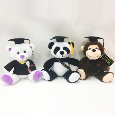 Stuffed Graduation Animal Teddy Bears Panda And Monkey with Cap