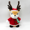 Plush Stuffed Soft Animal Christmas Deer with Red Clothes