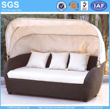 Outdoor Rattan Wicker Sofa with Canopy Hotel Furniture Patio Furniture