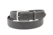 AFM7019 Mens Grey Navy PU Casual Belt with Single Pin Buckle