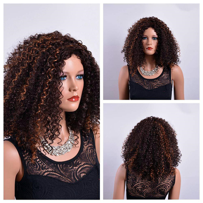 Virgin Afro Curly Synthetic Wigs for Black Women Fake little wave Hair