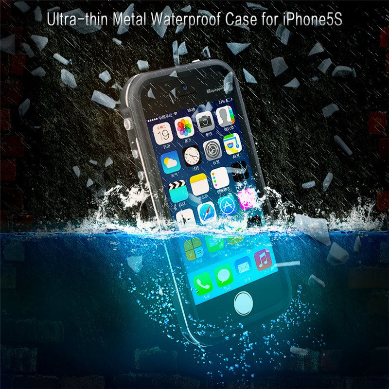 Waterproof Cell Phone Case with Protective Metal Bumper for iPhone 5 5s