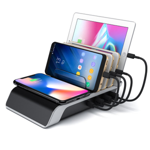 QI Wireless Charger Station 5-in-1 Multiple Charger Stand with Four USB Ports for IPhone Wireless Fast Charger Desktop Charging Station