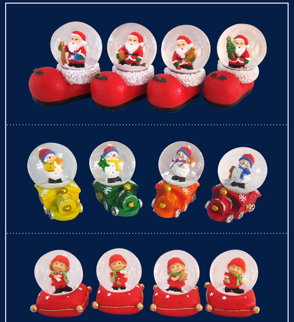 Colorful LED Lights Christmas Santa Claus Snow Globe with Different Base