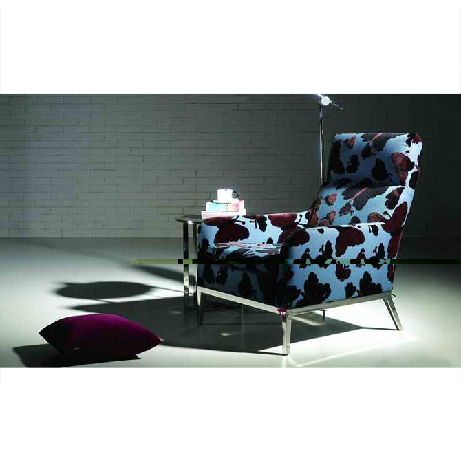 Metal Iron Leg Wooden Frame Butterfly Print Chair
