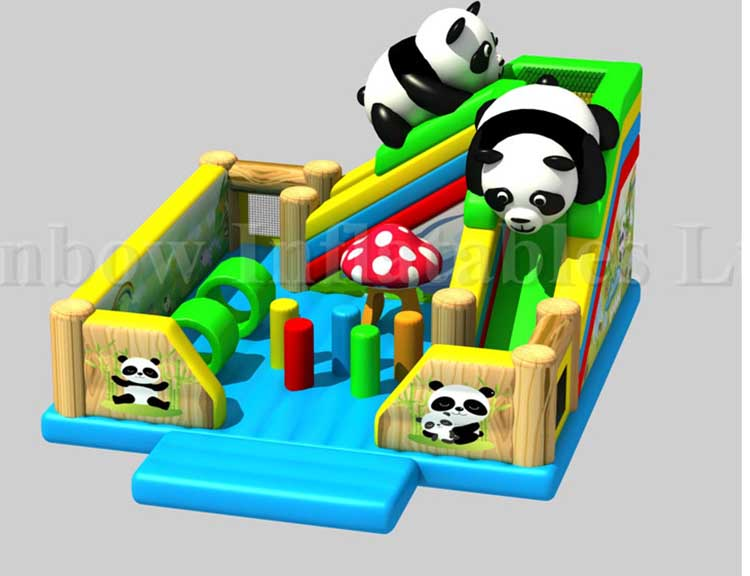 RB01040(7x8x5m) Inflatable Panda Funcity Bouncer Obstacle Bouncer with Slide