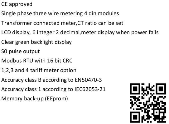 EM427 CT 120/240V 1 5(6)A single phase three wire digital smart