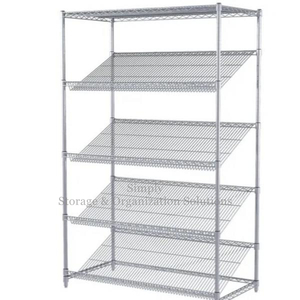 Warehouse Slanted Chrome Plated Wire Shelving Unit With 5 Shelves,H1822XW457XD1060mm