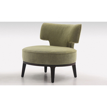 Small round cute comfy grey upholstery armchair for sale