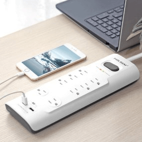 HOLSEM Surge Protector 8 Outlets With 2 Smart USB Ports 6 ft Cord Power Strip, White