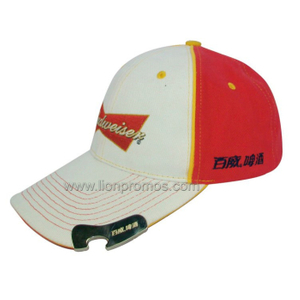 Beer Logo Embroidery Promotional Gift Cotton Baseball Cap with Bottle Opener
