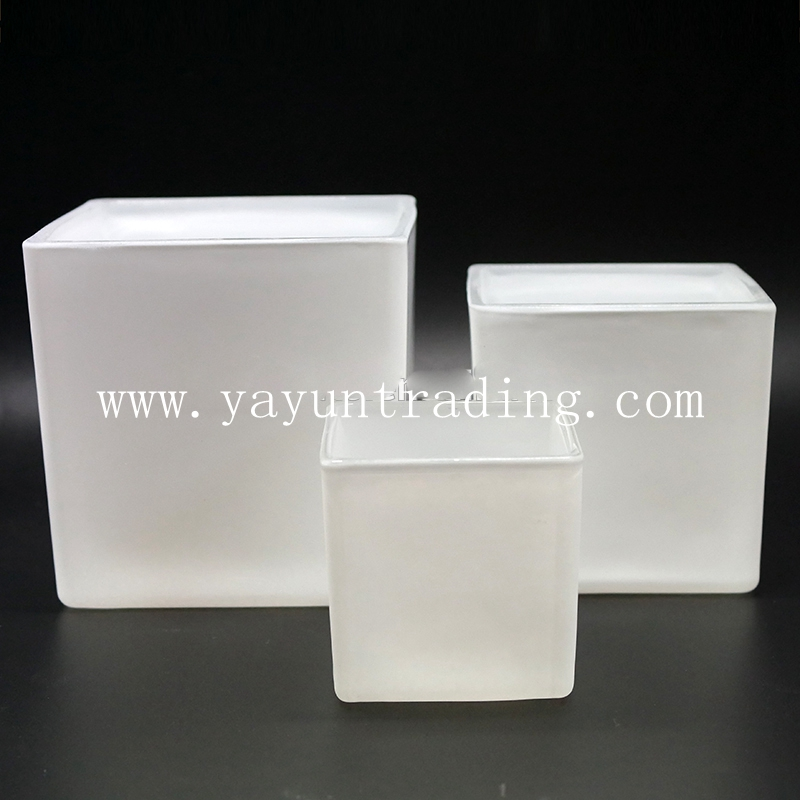1000ml large matte white and black square glass candle holder