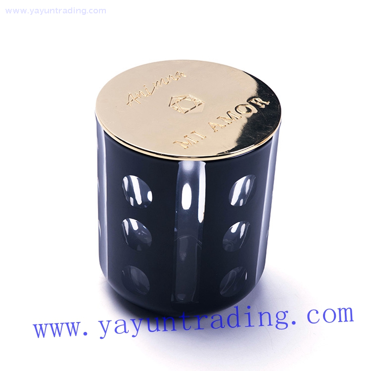 matte black eco friendly hand cut dot recycled glass candle jar