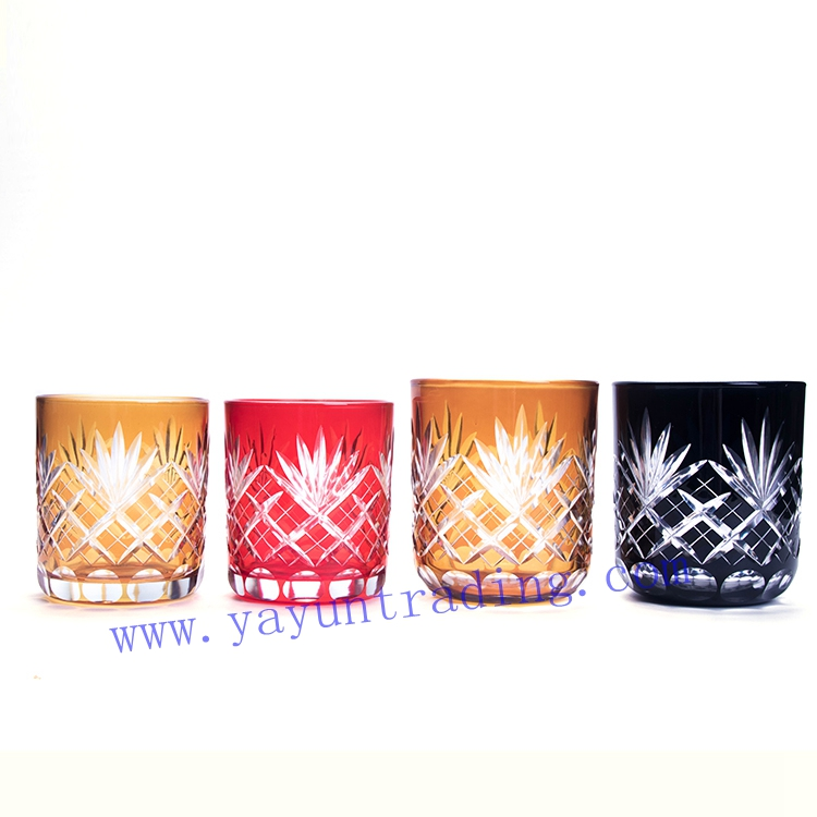 handmade spayed color pine apple glass candle holder