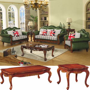 522 Wooden Leather Sofa for Living Room Furniture