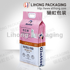 Pet Food Packaging Flat Bottom Plastic Bag plastic handle
