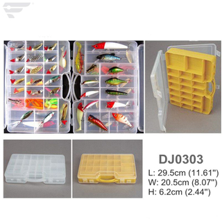 DJ0303 Premium Transprent Two Side Cover Fishing Tackle Box