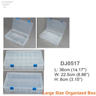 Large -Sized Plastic Compartment Clear Box