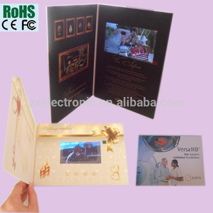Video brochure/greeting card video/video book with video palyer customized