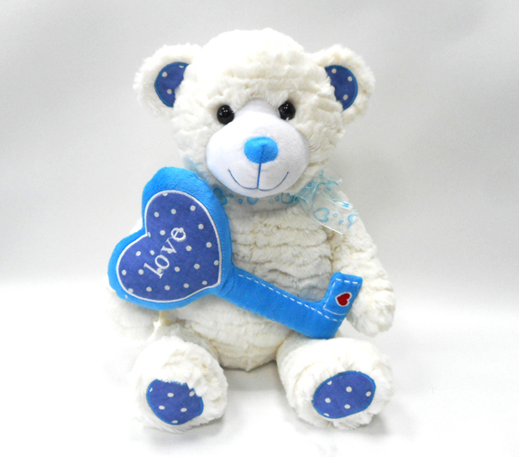 Plush Beige Valentine Stuffed Cute Teddy Bear with Heart Key