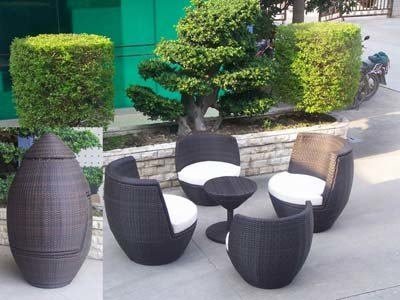 Patio Furniture Poly Rattan Sofa Stackable Outdoor Sofa Set