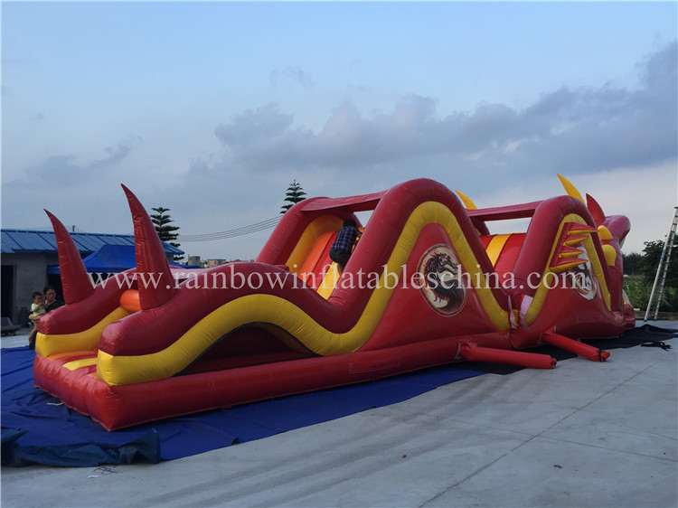 RB5039( 15x3.6x4.2m) Inflatable Dragon Shape Games, Inflatable Obstacle Course For Theme Park