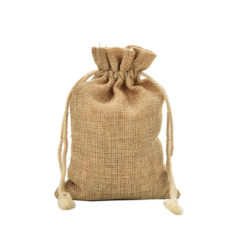 Wedding jute drawstring bag