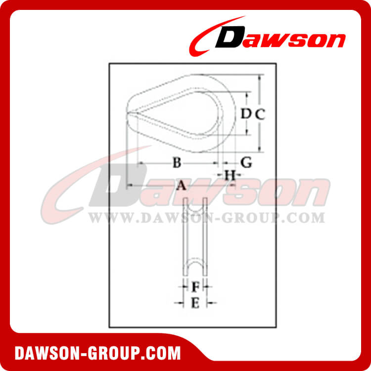 G414 Extra Heavy Duty Wire Rope Thumbles, Dawson Supply