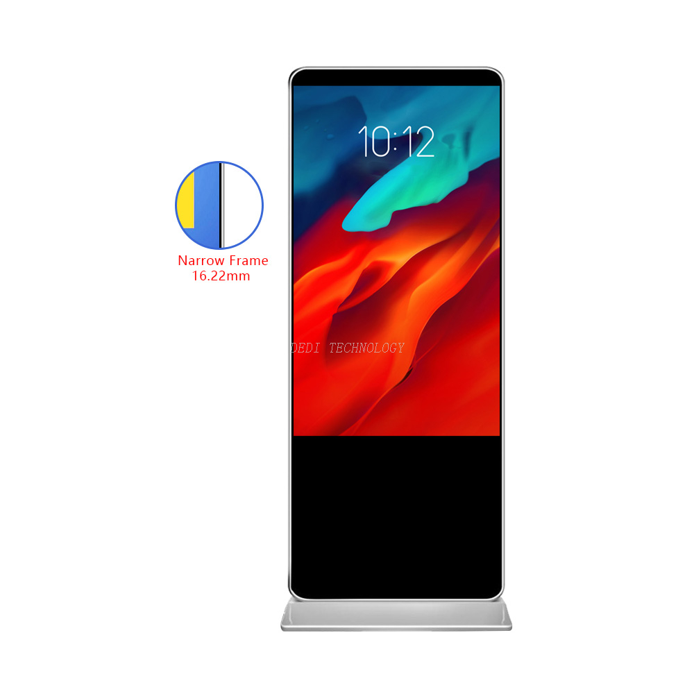 New frameless large screen advertising player 55 inch digital signage Full HD display shopping mall floor standing kiosk