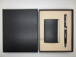 Logo Embossed PU leather Name Card Pen Gift Set