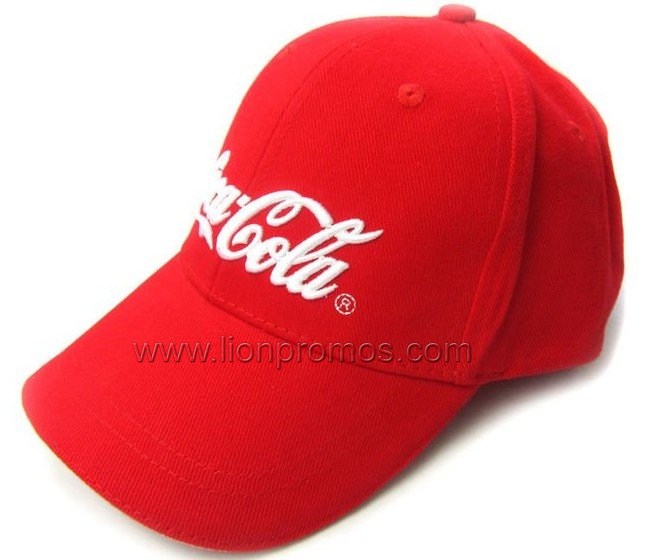 Coca Cola Logo Embroidery Brushed Cotton Baseball Cap