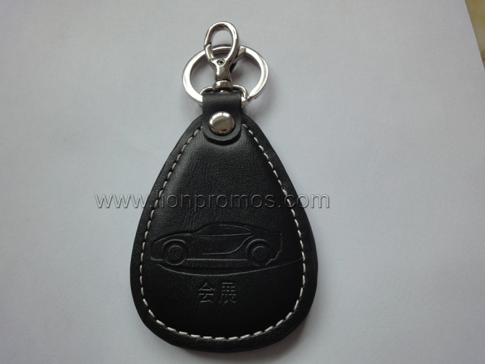 Logo Embossed Events Gift PU Leather Keyring