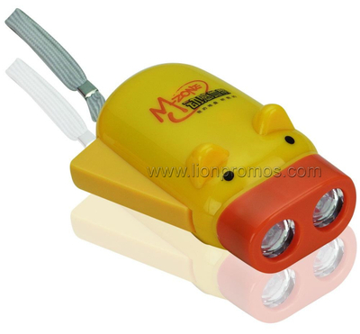 Piggy Shape Telecom Promotional Item Hand Pressing Dynamo LED Flashlight