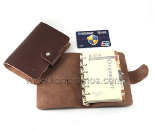 Custom Logo PU Leather Cover Pocket Loose Sheet Notebook