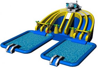 Customized Giant Outdoor Inflatable Ground Water Park with Double Pools for Sale