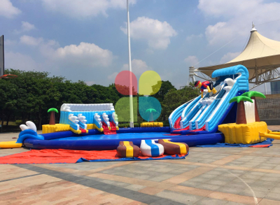 RB32018(dia 21m) Inflatable Giant rainbow Water Park with Slide and Pool New Design