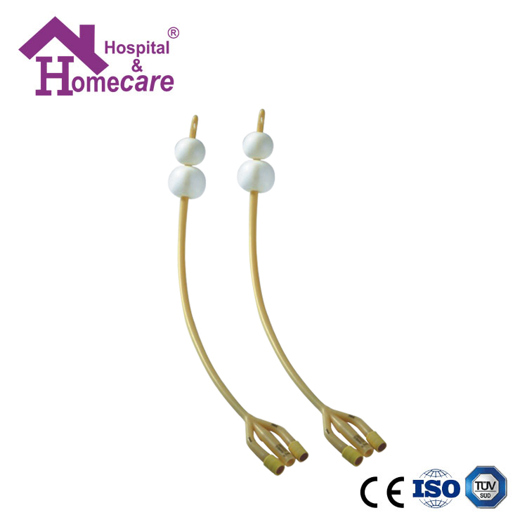 HK06b Latex Foley Catheter Silicone Coated 3-Way Double Balloon