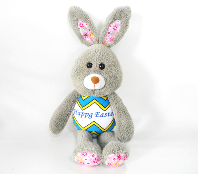Fluffy Grey Easter Rabbit Decorative Plush Toy with Long Ear