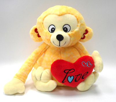 Valentine Gift Stuffed Plush Yellow Monkey Toys With Red Heart