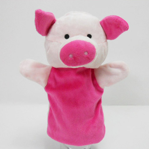 Plush Stuffed Toy Pink Pig Hand Puppet for Kids