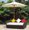 Outdoor Wicker/Rattan Daybed with Umbrella for Garden