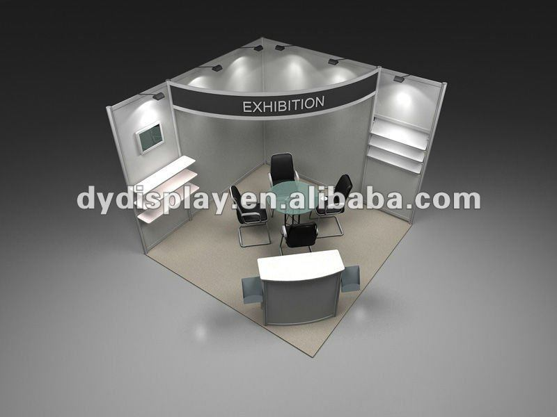Exhibition Booth Table : Exhibition stand display design with table and chair info board