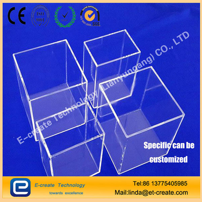 clear quartz square cylinder/high quality quartz cleaning tank