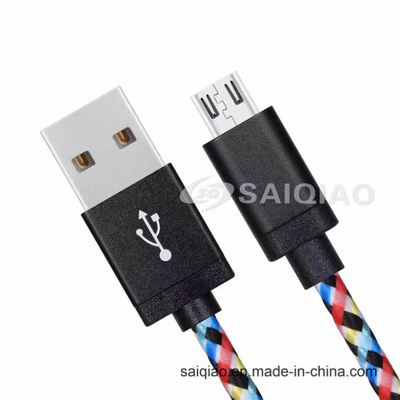 USB2.0 Braided Charging Data Cable for Android with Colorful Flowers