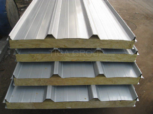 Prefab Homes Roof Material/Corrugated Rock Wool Sandwich Panel